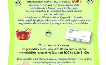 Koronavírus: seniori nad 65 rokov (špeciálne otváracie hodiny v obchodoch)